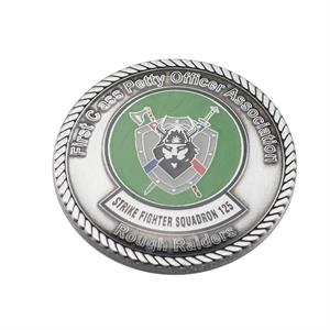 Die struck custom challenge coin with clear epoxy coating