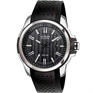 Citizen Mens AR Drive Black Leather Strap Eco-Drive Watch