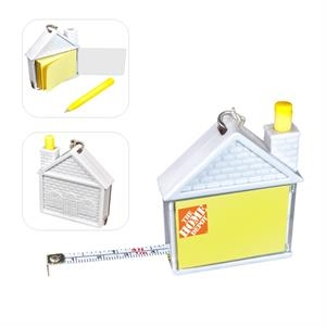 House Shape Measuring Tape with Pad and Pen Keychain