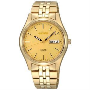 Seiko Mens Gold-Tone Solar Watch w/Champagne Dial