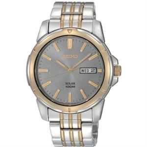 Seiko Men's Solar Watch w/Charcoal Round Dial