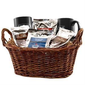 Gift basket with coffee, tea and mugs