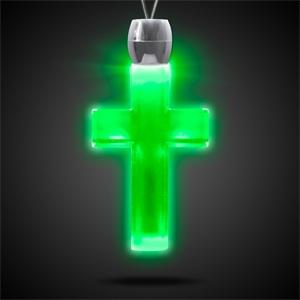 Light Up Necklace - Acrylic Cross Pendant - Green