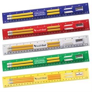 12 Inch Plastic Ruler Kit With Pencil, Eraser, Sharpener