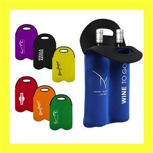 Neoprene Dual Wine Bottle Holder Tote Bag