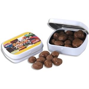 Pocket Hinged Tin with Candy Chocolate Covered Raisins