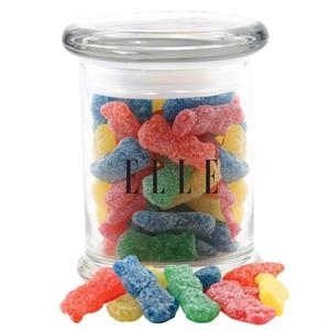 Sour Kids in a Round Glass Jar with Lid
