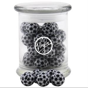 Chocolate Soccer Balls in a Large Round Glass Jar with Lid