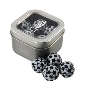 Tin with Window Lid and Chocolate Soccer Balls