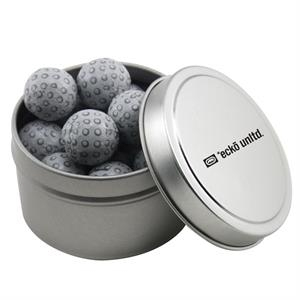 Round Metal Tin with Lid and Chocolate Golf Balls