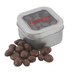 Tin with Window Lid and Chocolate Covered Raisins