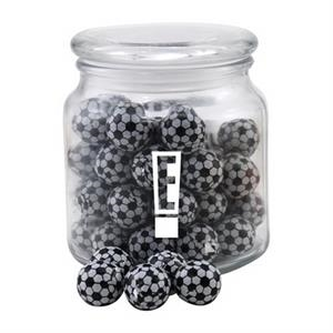 Chocolate Soccer Balls in a Glass Jar with Lid