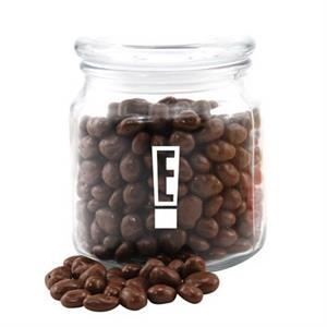 Chocolate Covered Raisins in a Glass Jar with Lid