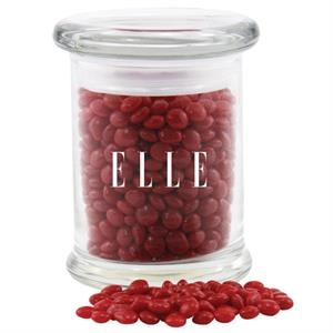 Red Hots Candy in a Round Glass Jar with Lid