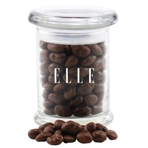 Chocolate Covered Raisins in a Round Glass Jar with Lid