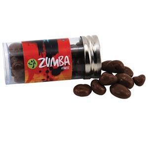 "3 \"" Plastic Tube with Metal Cap-Chocolate Covered Raisins"