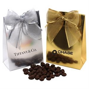 Chocolate Covered Raisins  in a Stand Up Gift Box with Bow
