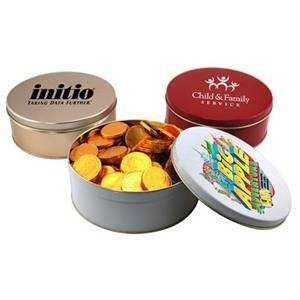 """Chocolate Coins in a Round Tin with Lid-7.25"""" D"""