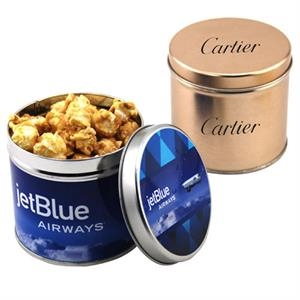 """Caramel Popcorn in a 3.5"""" Round Metal Tin with Lid"""