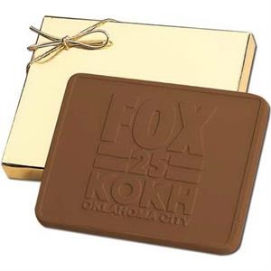 5 oz Custom Molded Chocolate Bar in Gold Gift Box