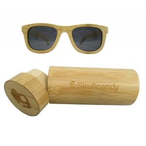 Premium Bamboo Sunglasses with Round Bamboo Case