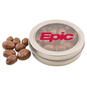 Round Metal Tin with Lid and Chocolate Covered Raisins