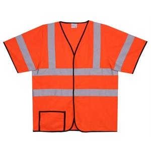 S/M Orange Solid Short Sleeve Safety Vest