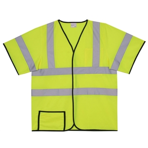 S/M Yellow Solid Short Sleeve Safety Vest