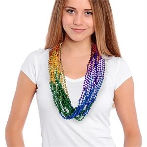 "33"" Rainbow (7mm) Segmented Mardi Gras Bead Necklace"