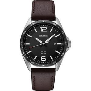 Seiko Men's Essentials Brown Leather Strap Watch