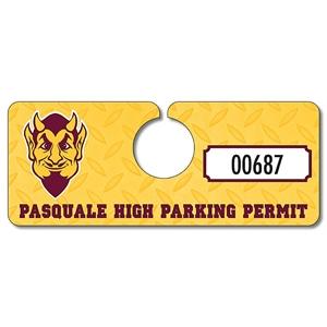 School Plastic Hang Tag / Parking Permit- 2x5 - UV Coated (1
