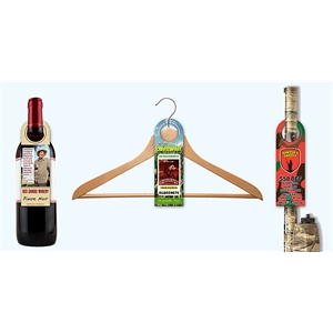 UV Coated (1S) Bottle Hanger - 2.5 x 7.625 (Round Top w/1.56