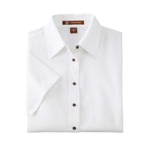 Harriton Ladies' Easy Blend™Short-Sleeve Twill Shirt ...