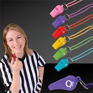 "2"" Plastic Whistles with Lanyard"