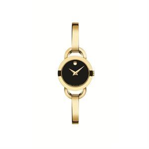 Movado Rondiro Ladies Gold Plated SS Case w/Black Dial