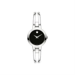 Movado Amorosa Ladies SS Case & Bracelet w/ Black Dial