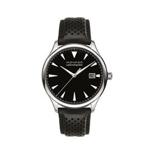 Movado Heritage Mens w/SS Case Black Dial & Leather Strap