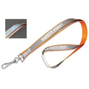 """5/8\"""" \""""Safety First\"""" Reflective Lanyard, Swivel Hook"""