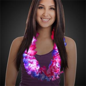 "33"" LED Light Up Glow Silk Flower Leis"