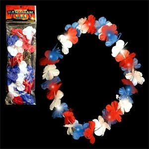 "33"" LED Light Up Flower Leis - Red/White/Blue"