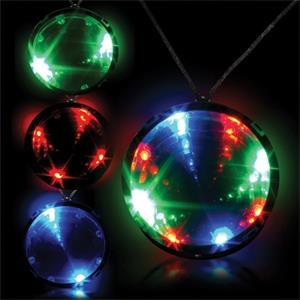 """2 3/4\"""" Tri-Color Light Up LED Infinity Badge w/ Necklace"""