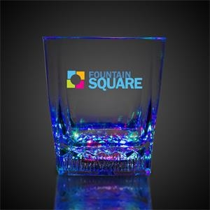 10 oz. Square Bottom LED Lighted Rocks Glass