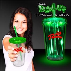 Light Up Travel Cup with Lid and Straw