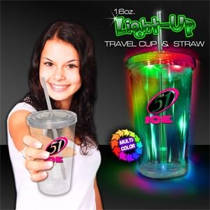 16 oz. Travel Cup with Multi-Colored LED Lights