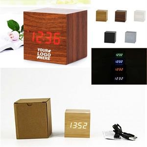 Square digital LED Alarm wooden clock
