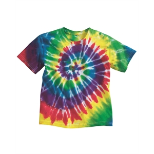 Dyenomite Youth Multi-Color Spiral Tie-Dyed T-Shirt