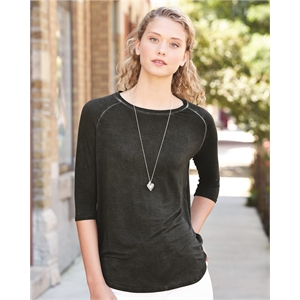 J. America Women's Oasis Wash Three-Quarter Sleeve T-Shirt