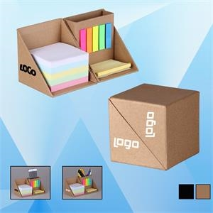 Foldable Sticky Note Cube with Pen Holder