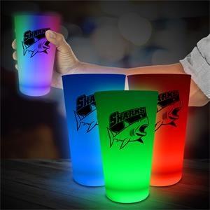 LED Glow Light Up Neon Look 16 oz Pint Glass