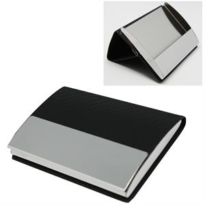 Faux Leather Stainless Steel Business Card Case & Holder